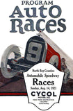 1921 Auto Races - North Bay Counties Automobile Speedway - Program Cover Mug