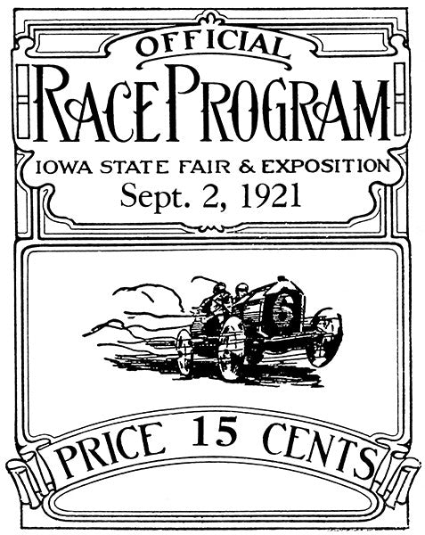 1921 Auto Racing - Iowa State Fair - Program Cover Poster