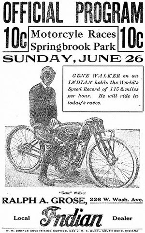 1921 Motorcycle Races - Springbrook Park - South Bend IN - Program Cover Poster