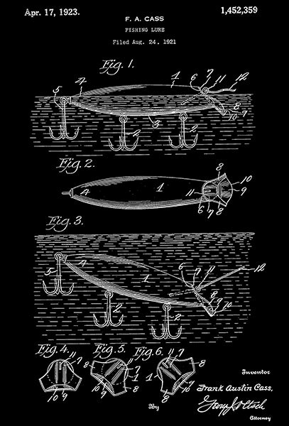 1923 - Fishing Lure - F. A. Cass - Patent Art Poster