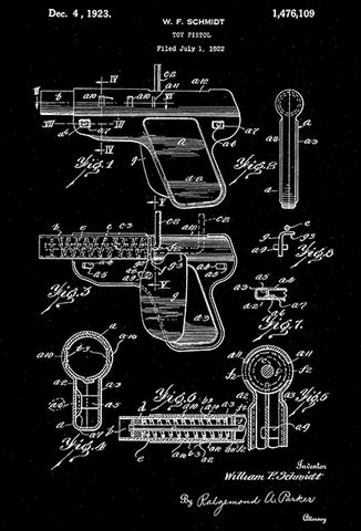 1923 - Toy Pistol - W. F. Schmidt - Wyandotte - All Metal Products - Patent Art Poster