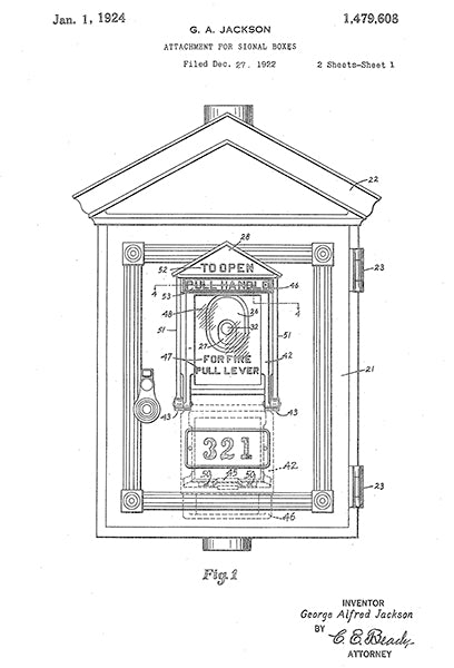 1924 - Fire Alarm Signal Box - G. A. Jackson - Patent Art Poster