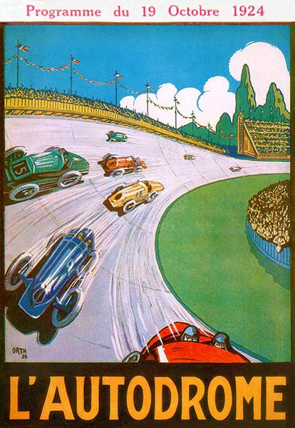 1924 Auto Races - Lautodrome de Linas-Montlhery France - Program Cover Poster Mug