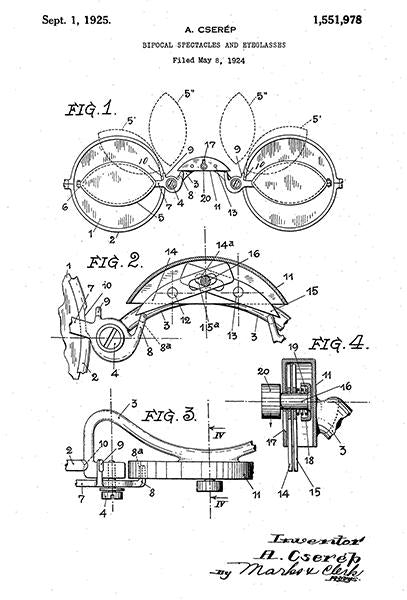 1925 - Bifocal Spectacles And Eyeglasses - Eye Clinic - Optometrist - A. Cserep - Patent Art Mug