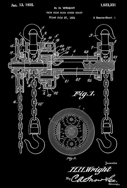 1925 - Chain Hoist - Twin Hook High Speed Hoist - H. H. Wright - Patent Art Poster