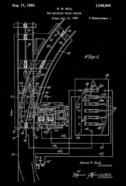 1925 - Lionel Toy Railroad Track Switch - A. H. Hill - Patent Art Poster