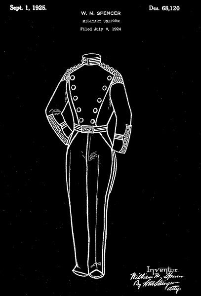 1925 - Military Uniform - W. M. Spencer - Patent Art Poster