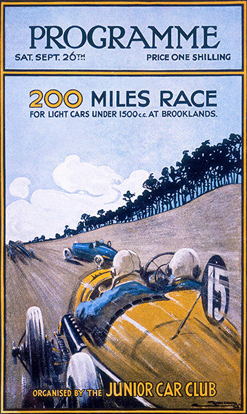 1925 200 Miles Auto Race - Brooklands - Weybridge England - Program Cover Poster