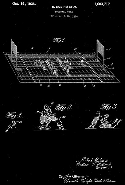 1926 - Football Game - R. Rubino - Patent Art Poster