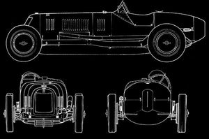 1926 Maserati Type 26 - Blueprint Magnet