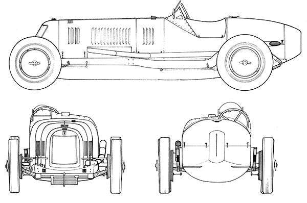 1926 Maserati Type 26 - Blueprint Mug