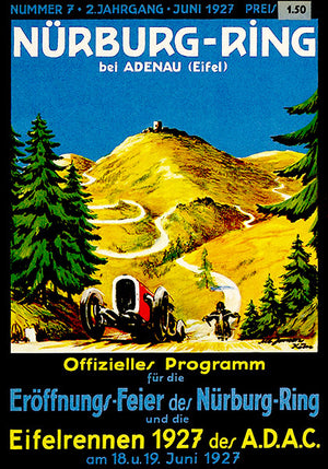 1927 Auto & Motorcycle Races - Nürburgring - Program Cover Poster