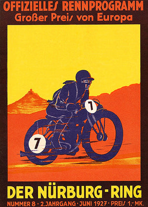 1927 Grand Prix of Europe - Motorcycle Race - Nürburgring - Program Cover Poster