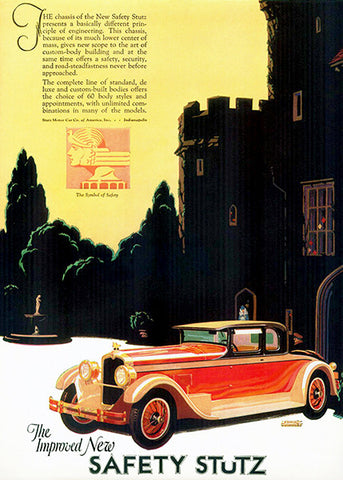 1927 Stutz - The Improved New Safety Stutz - Promotional Advertising Poster