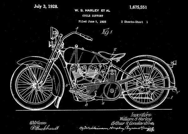 1928 - Harley Motorcycle - W. S. Harley - Patent Art Poster