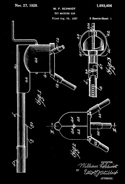 1928 - Toy Machine Gun #2 - W. F. Schmidt - Wyandotte - All Metal Products - Patent Art Poster