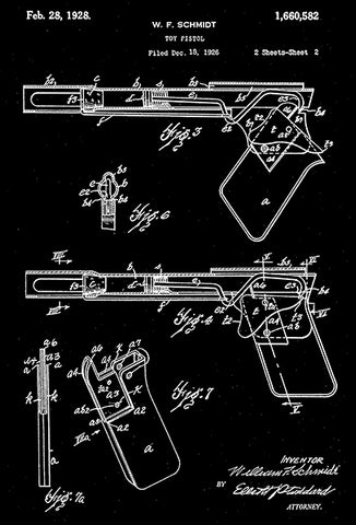 1928 - Toy Pistol - W. F. Schmidt - Wyandotte - All Metal Products - Patent Art Poster