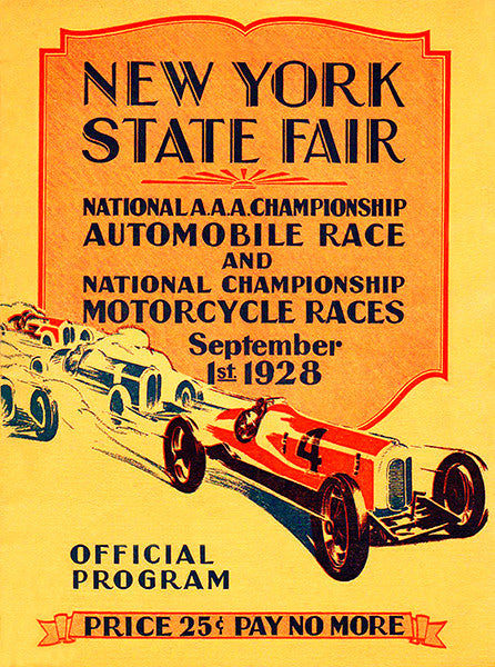 1928 Auto & Motorcycle Races - New York State Fair - Program Cover Poster
