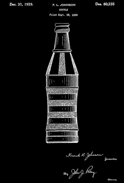 1929 - Bottle - F. L. Johnson - Patent Art Poster
