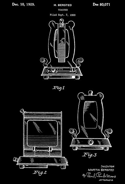 1929 - Toaster - M. Bersted - Patent Art Poster