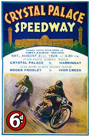 1929 Crystal Palace Motorcycle Races - London - Program Cover Poster