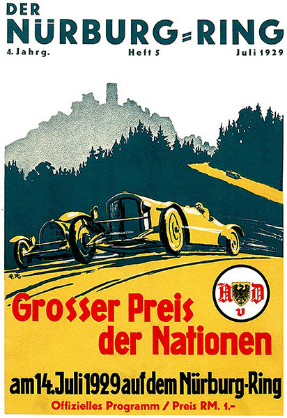 1929 German Grand Prix Auto Race - Nürburgring - Program Cover Poster