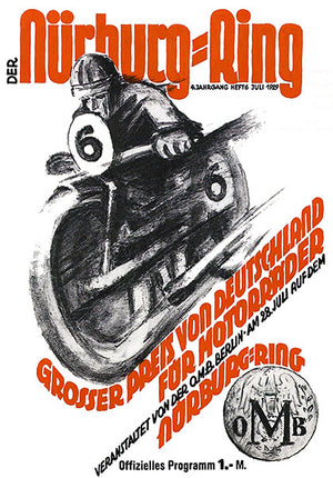 1929 German Motorcycle Grand Prix Race - Promotional Advertising Poster