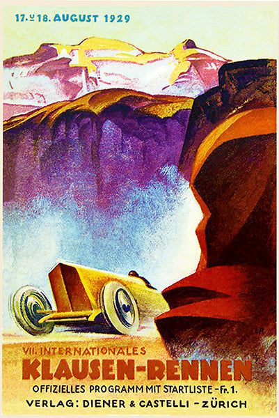 1929 Klausen Hill Climb Auto Race - Program Cover Poster