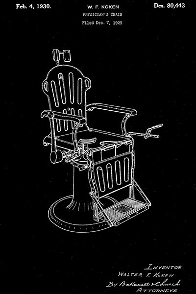 1930 - Doctor's Chair - Patent Art Poster