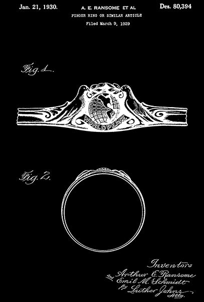 1930 - Finger Ring - A. E. Ransome - Patent Art Poster