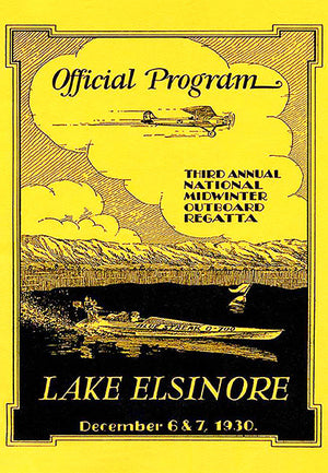 1930 - Midwinter Outboard Regatta Boat Race - Lake Elsinore - Promotional Poster