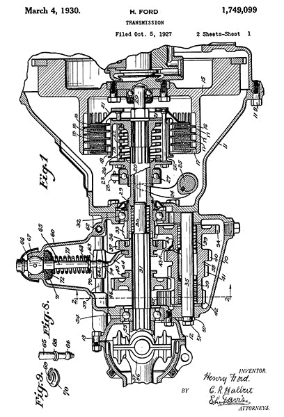 1930 - Transmission - H. Ford - Patent Art Poster