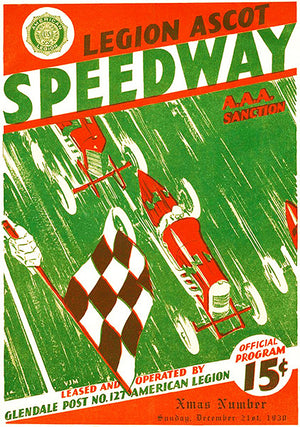 1930 Auto Racing - Legion Ascot Speedway - Program Cover Poster