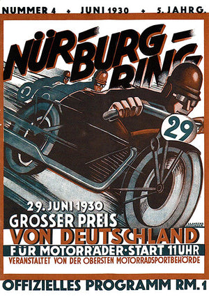 1930 German Motorcycle Grand Prix Race - Program Cover Poster