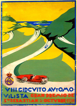 1930 Grand Prix Of Spain - San Sebastian - Promotional Advertising Poster