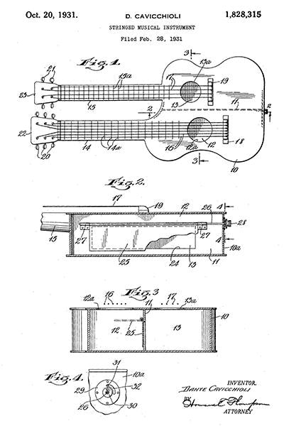 1931 - Stringed Musical Instrument - D. Cavicchioli - Patent Art Mug