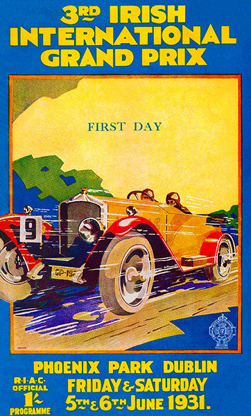 1931 3rd Irish International Grand Prix - Phoenix Park - Program Cover Poster