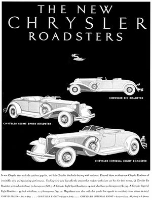1931 Chrysler - The New Roadsters - Promotional Advertising Poster