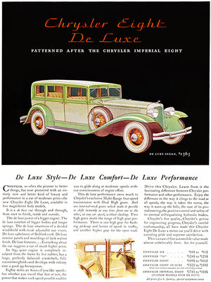 1931 Chrysler Eight De Luxe Sedan - Promotional Advertising Poster