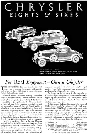1931 Chrysler Eights & Sixes - For Real Enjoyment - Promotional Advertising Poster