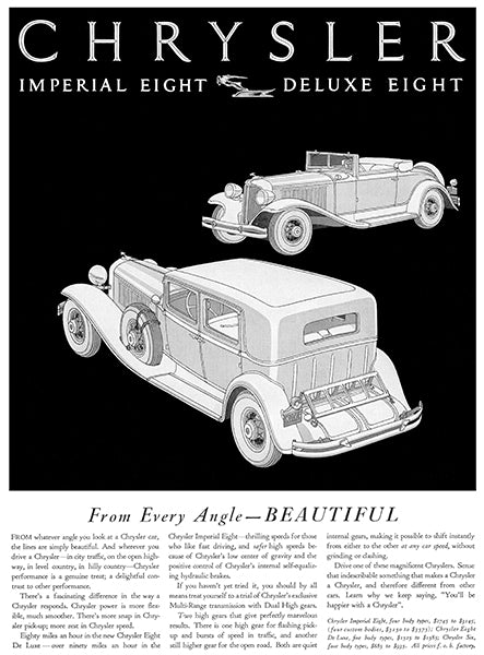 1931 Chrysler Imperial Eight - Deluxe Eight - Promotional Advertising Poster
