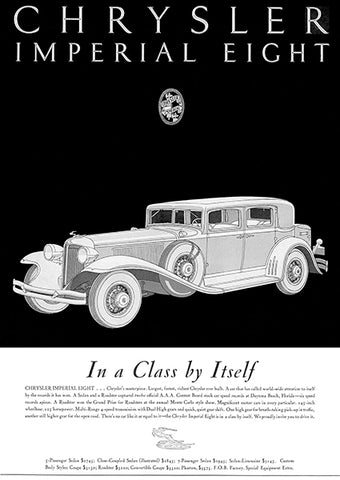 1931 Chrysler Imperial Eight - In A Class By Itself - Promotional Advertising Poster