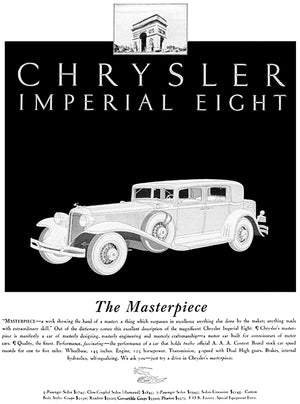 1931 Chrysler Imperial Eight - The Masterpiece - Promotional Advertising Poster