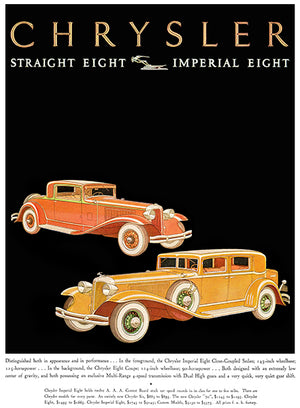 1931 Chrysler Straight Eight - Imperial Eight - Promotional Advertising Poster