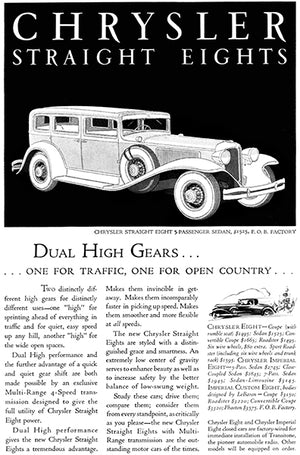 1931 Chrysler Straight Eights - Dual High Gears - Promotional Advertising Poster
