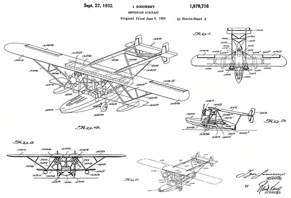 1932 - Amphibian Aircraft - I. Sikorsky - Patent Art Poster