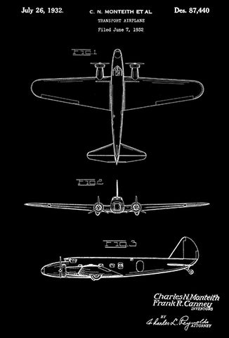 1932 - Boeing Model 247 - Transport Airplane - C. N. Monteith - Patent Art Poster