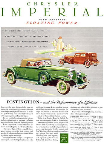 1932 Chrysler Imperial - Distinction And Performance - Promotional Advertising Poster
