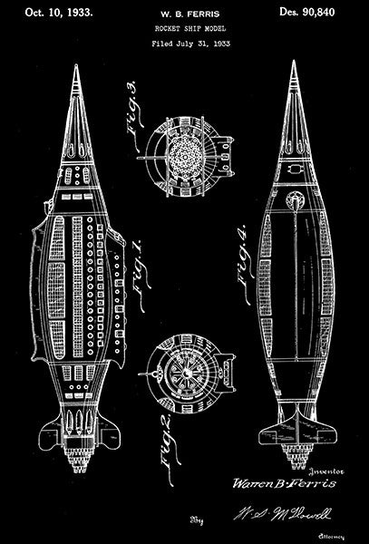 1933 - Rocket Ship Model - W. B. Ferris - Patent Art Poster