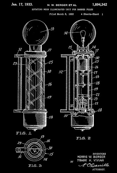 1933 - Rotating Neon Illuminated Unit For Barber Poles - M. W. Berger - Patent Art Poster